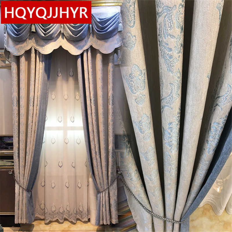 European-style luxury jacquard Blackout curtains for Living Room Windows High-end custom classic curtains for Bedroom