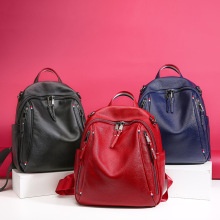 Luxury brand new leather backpack women luxury British style Calfskin double zipper large-capacity female travel bag