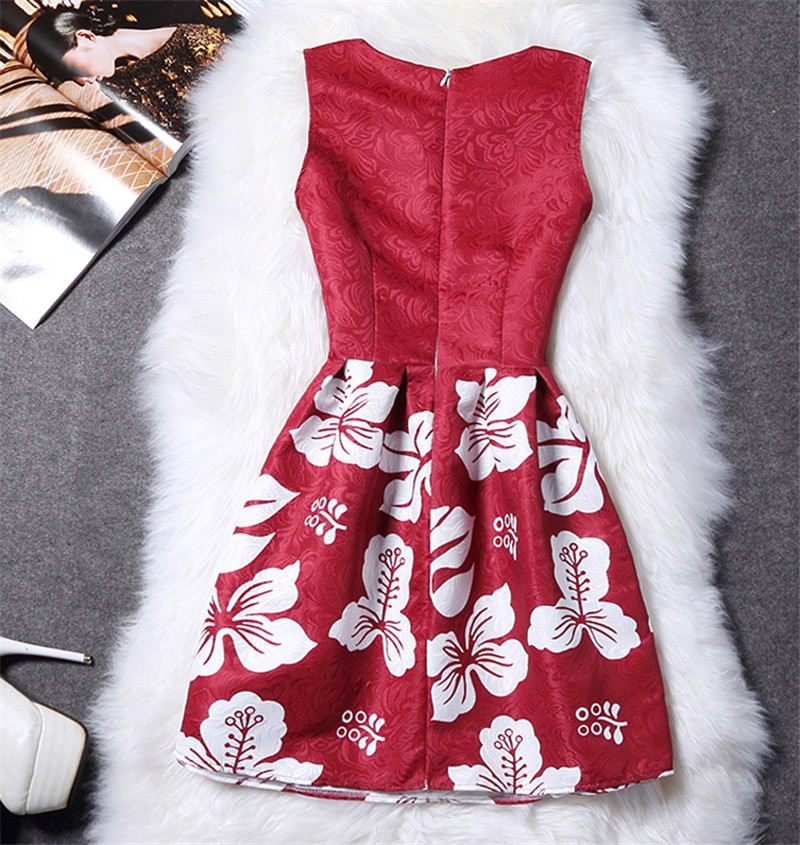 Femme fashion sweet Ball Gown party dress Women,Printed vest sleeveless dress tutu summer style bottoming,summer dress TT818 3