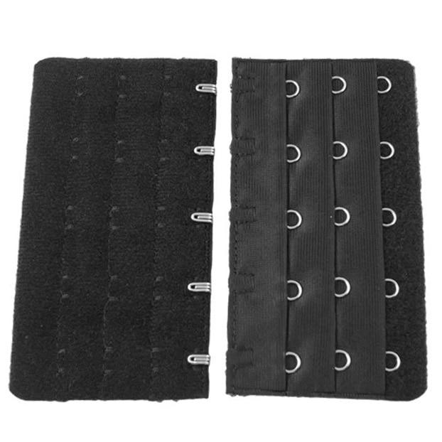 Hot Black 5 Rows Hook and Eye Tape Extension Bra Strap Extender 5 Pcs for Women