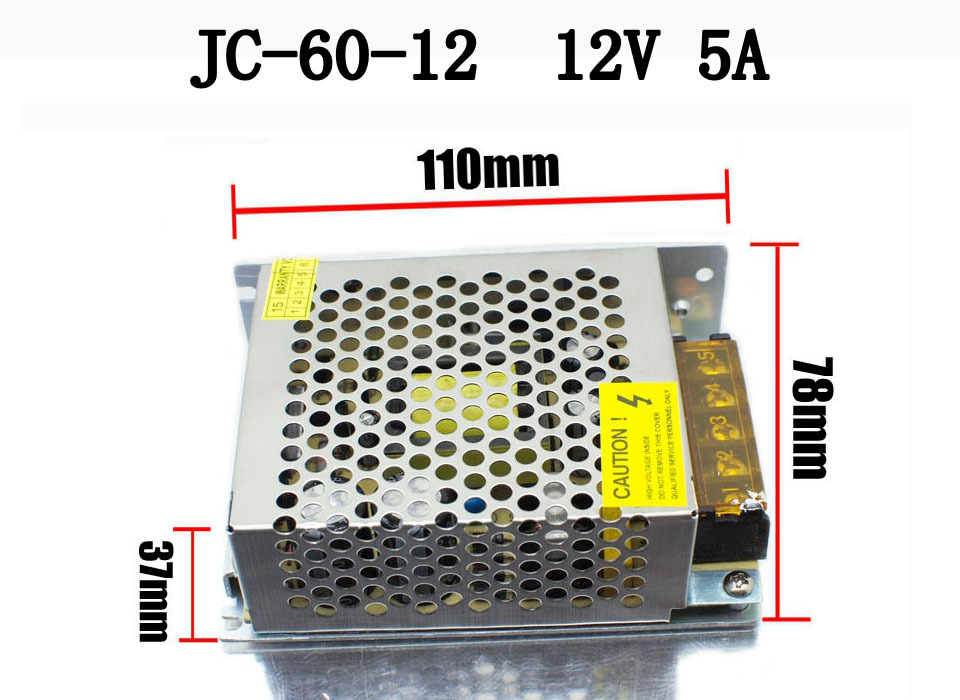 50 Pack Switch Power Supply Driver 12V 5A 60W for LED Strip Light s 60 12 nes 12v 5 amp led strip driver adapter ac dc transformer psu voltage regulator 12 v 60w switch 12v power supply 5a