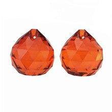 Высокое качество 5 шт./лот 30 мм оранжевый красный хрустальный стеклянный Ограненный шар для подвесок люстр, фэншуй шар для украшения дома