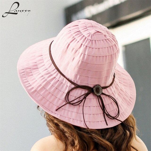 c43f12c22dd4d8 Lanxxy 2018 Neue Sommer Frauen Strand Sonnenhut Faltbare Chapeau Visiere  Breiter Krempe Panama Damen Kopfbedeckung