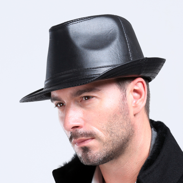 Men s100 % Couro Genuíno Chapéu de pele de Carneiro Masculino Lazer Cowboy  Cap Jazz 3de2e9e120b