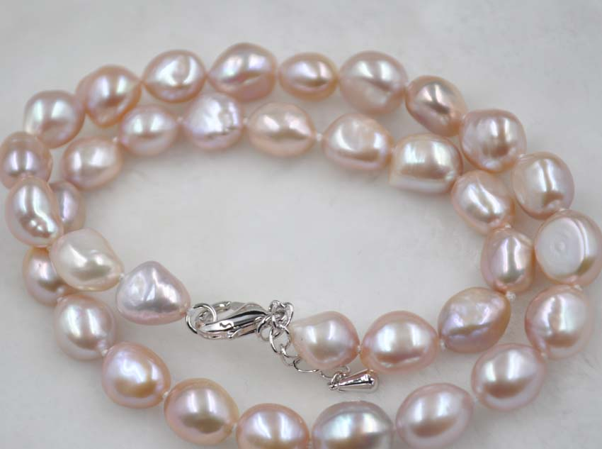 Free shipping 9-10mm natural color freshwater pearl necklace