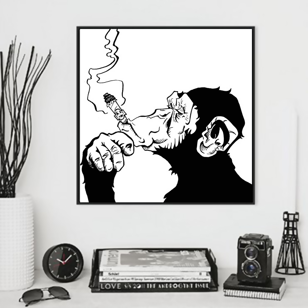 Buy minimalist black white chimpanzee for Home interiors and gifts framed art