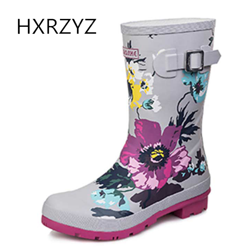 HXRZYZ women rain boots female knee high buckle rubber boots spring/autumn new printing slip-resistant waterproof shoes woman hxrzyz women rain boots female jelly rubber ankle boots spring autumn new fashion printing slip resistant waterproof shoes women