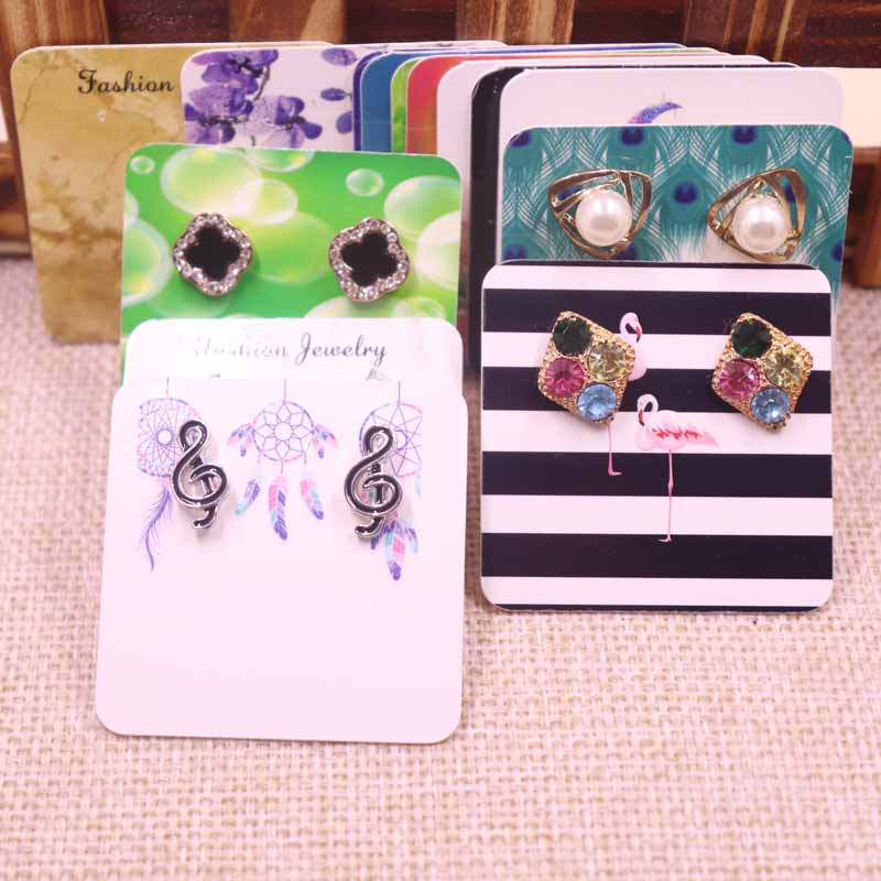 New Hot Sale 100pcs Diy Stud/drop Earring Card White/kraft/black Cardboard Small Cute Earring Products Package Card 5*5cm
