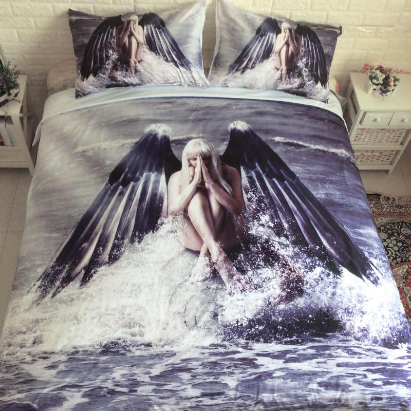 3D Angel Wings Bedding Set HD Print Duvet Cover Single Full Queen King AU  USA UK Size