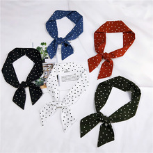 Summer New Fashion Elegant Women Chiffon Scarf Skinny Retro Dots Print Head Neck Small Vintage Hair Tie Band For Girl