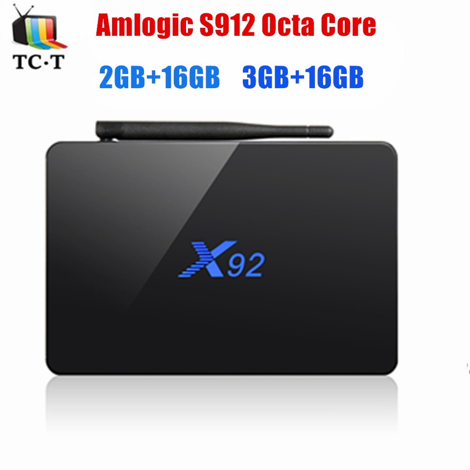 X92 S912 64 bits TV BOX Octa Core 2 GB/16 GB 3 GB/16 GB Android 6.0 malvavisco X