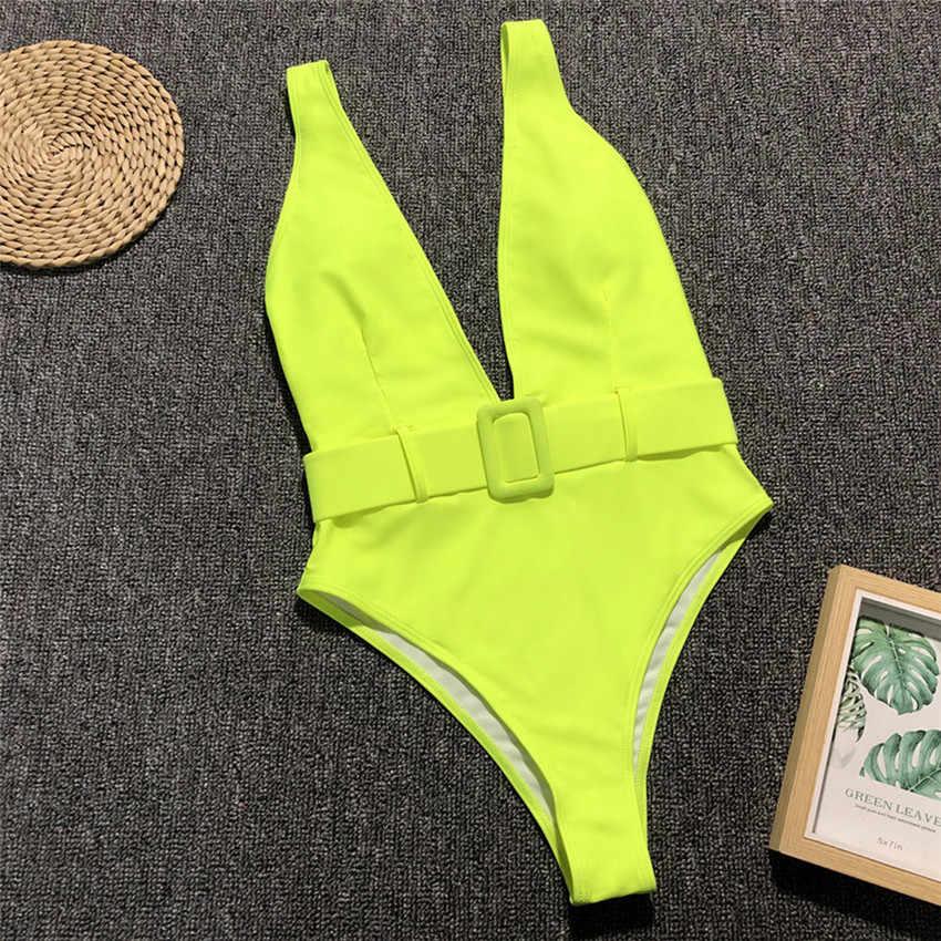 Глубокий V неоновый зеленый Цельный купальник 2019 женский купальник с тигровыми полосками женский пояс Монокини Высокая талия купальный костюм