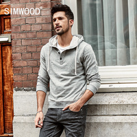 SIMWOOD 2018 Spring New Hooded Hoodies Men Slim Fit Sweatshirts Fashion Casual Tracksuit Henry Collar Pullover