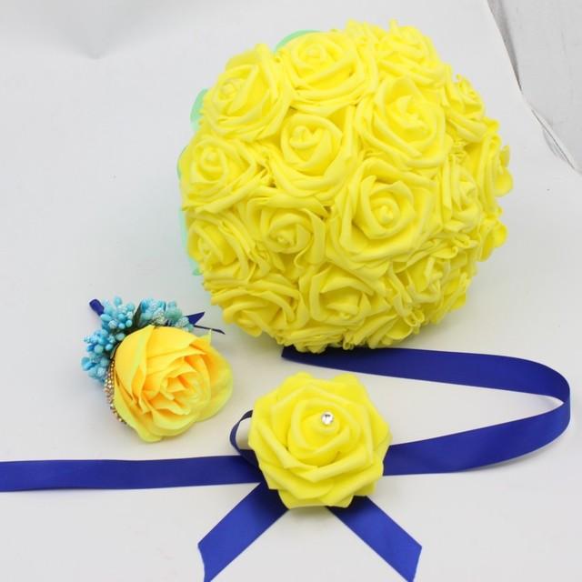 cb226ff8f814 Ramo de la boda Rosa Amarilla Flores Novia Con Crtstal Partido damas de  Honor de Novia