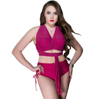 Plus Size 48 54 Swimwear 2017 Newest Two Pieces Swimsuit Bandage Cross Sexy High Waist Swim
