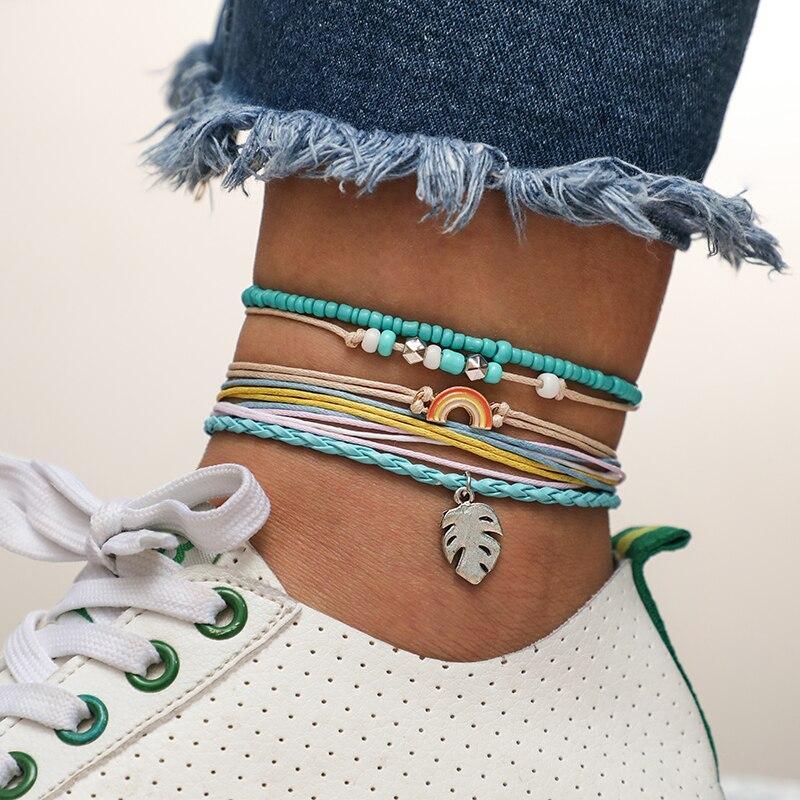 docona Beach Colorful String Leaf Rainbow Bracelet Set for Women Boho Handmade Blue Beads Adjustable Bracelet Bangle Set 6931