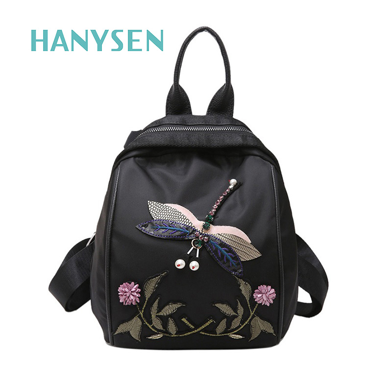 2017 New National Oxford Flower Embroidery Backpack Fashion Dragonfly Women Leisure Backpack High Quality Small