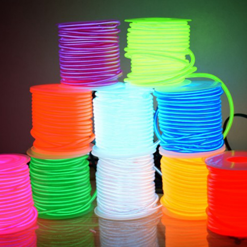 EL Wire  2.3mm 10 Colors 50M 100M 200M Rope Tube Cable DIY Led Strip Light Flexible Neon Glow Party Decoration Dance Events Deco 10 colors neon led bulbs luminous led light 3d queen letter couples cap el wire glowing rope tube outdoors sport hat as gift