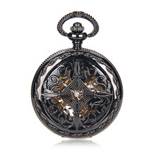 SHUHANG Brand Steampunk Black Case Skeleton Mechanical Pendant Pocket Watch Fob Roman Numerals