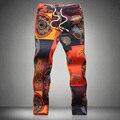 2016 Colorido Floral de Lino de Los Hombres Pantalones Harem Ocasional de Gran Tamaño 5XL Male Verano Harem Pies Cómodo Tobillo-longitud de Los Pantalones