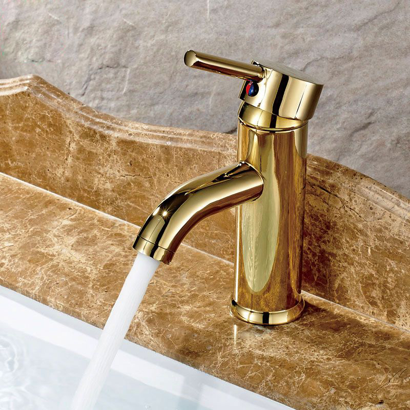 Free Shipping Golden Bathroom Vanity Sink Faucet Single Lever Brass Short Vessel Sink Mixer Tap with