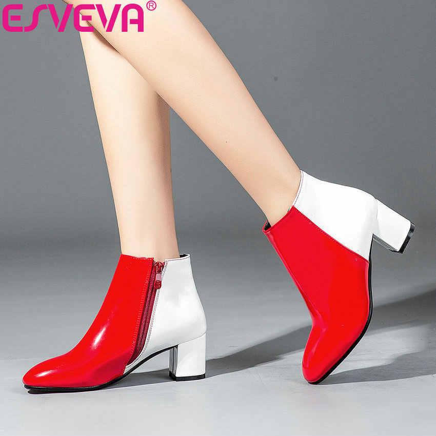 ESVEVA 2020 kadın botları batı tarzı kare yüksek topuklu sonbahar ayakkabı Patchwork yuvarlak ayak çizmeler kadın yarım çizmeler ayakkabı 34-43