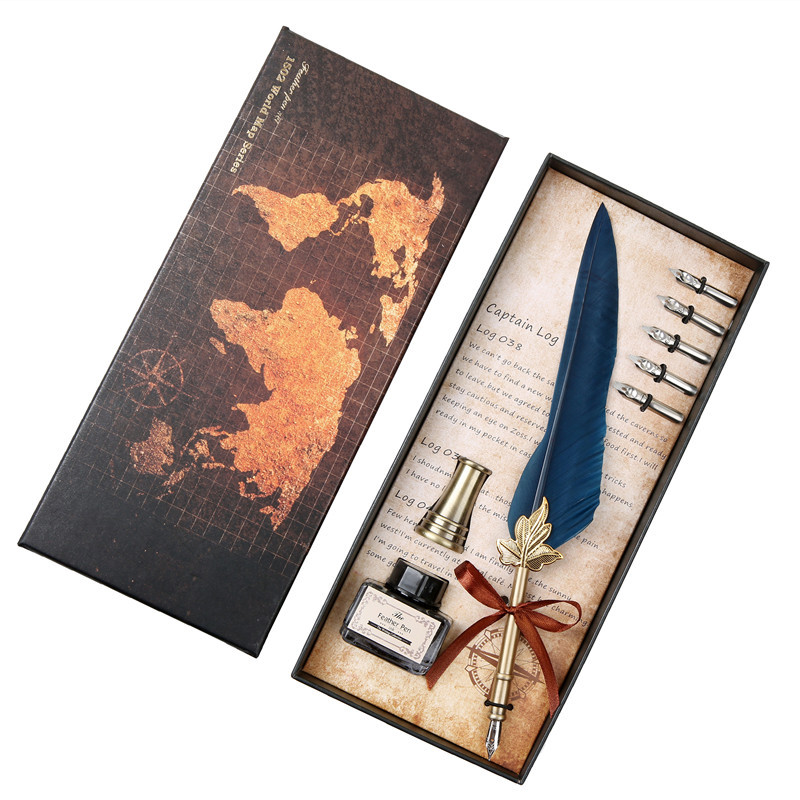 A set of English calligraphy feather pens Writing ink pen set Stationery gift box 5 nibs wedding gift feather pen