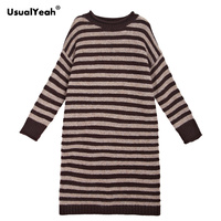 UsualYeah 2018 Autumn Winter Stripe Long Sweater Women Casual Knee Length Pullover Black Coffee