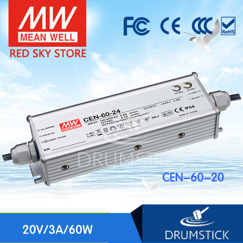 цена на hot-selling MEAN WELL CEN-60-20 20V 3A meanwell CEN-60 20V 60W Single Output LED Power Supply