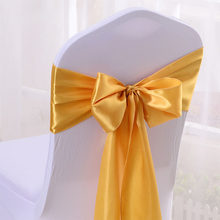 Hot 50pcs/lot 16*275cm Red/Blue/Yellow/Purple Satin Bow Tie Ribbon Band Chair Cover Sash Hotel Banquet Wedding Party Decoration(China)
