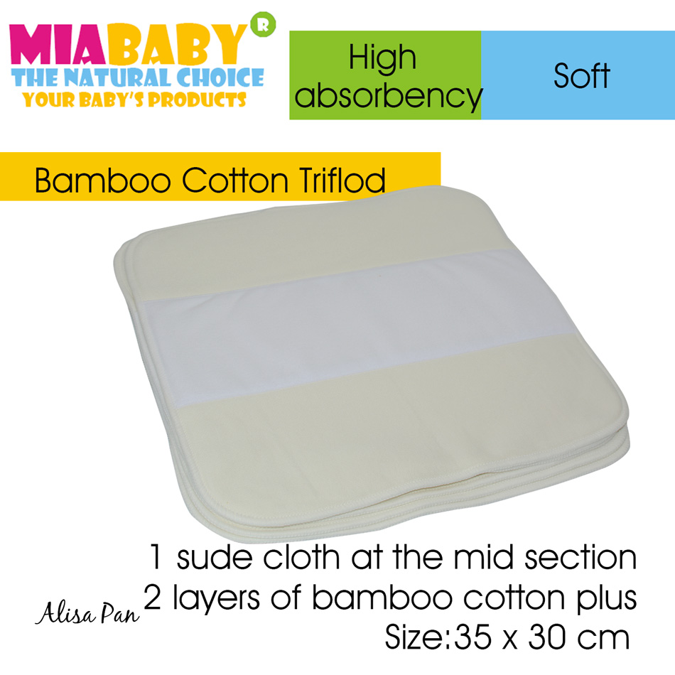5pcs/lot Miababy Cloth Diaper Nappy Insert Bamboo Cotton Trifold Insert
