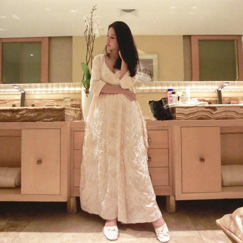 Robe femme longue chemise de nuit broderie peignoir pour dames princesse maison vêtements vêtements de nuit féminins salons Homewear de haute qualité - 3