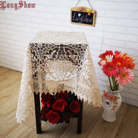 2019 Newest Elegant Gold White Color Organza Leaves Lace Trim Embroidery Tablecloth For Wedding Party