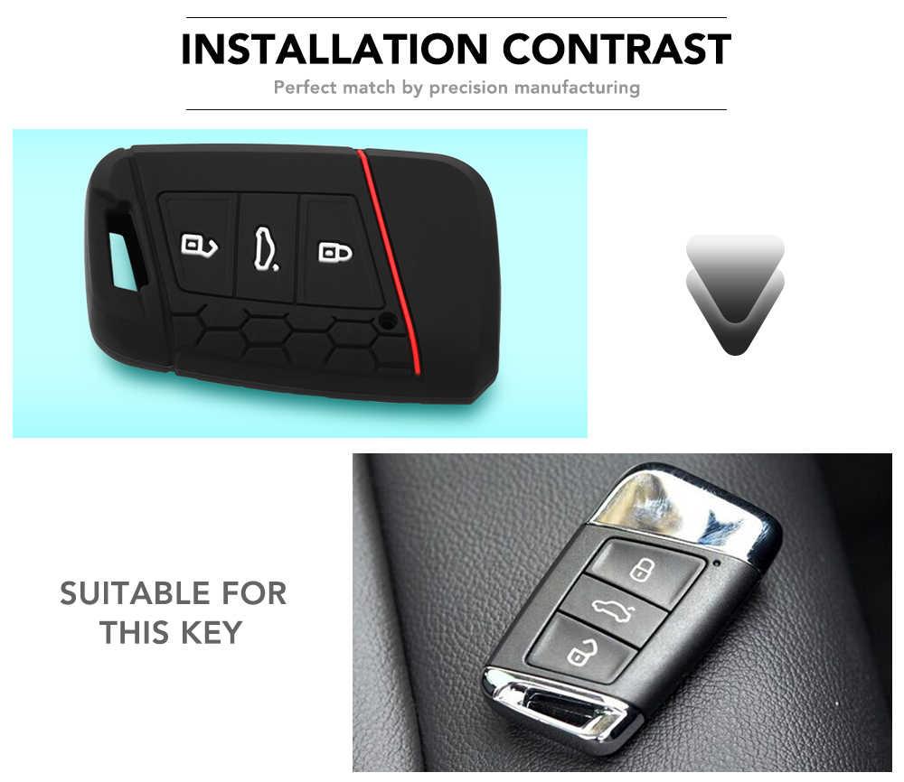 Silikon Case Kunci untuk VW Passat B8 untuk Skoda Kodiaq Luar Biasa A7 2015 2016 2017 2018 2019 2020 Tanpa Kunci fob Shell Kulit Dudukan