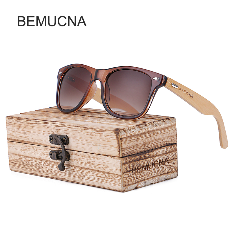 2017 New BEMUCNA Bamboo Sunglasses Men Wooden glasses Women Brand Designer Original Wood Sun Glasses Women
