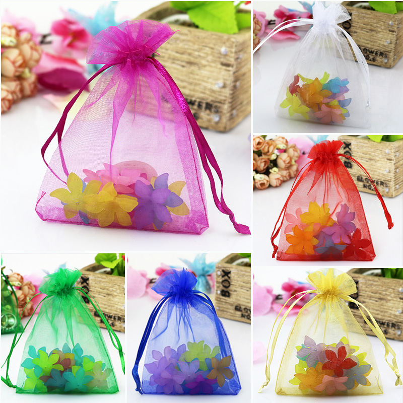 500pcs Random Mixed Color Organza Bag 20x30cm Large Toys Jewelry Packaging Bag Wedding Organza Pouches Cute