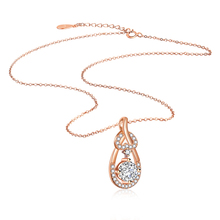 Girl Fashion Jewelry Plated Rose Gold Necklace Water Drop Zircon Pendant Gold Necklace Solid Silver Material tiny skull necklace dainty layering delicate charm gold rose gold or silver plated mini skull pendant