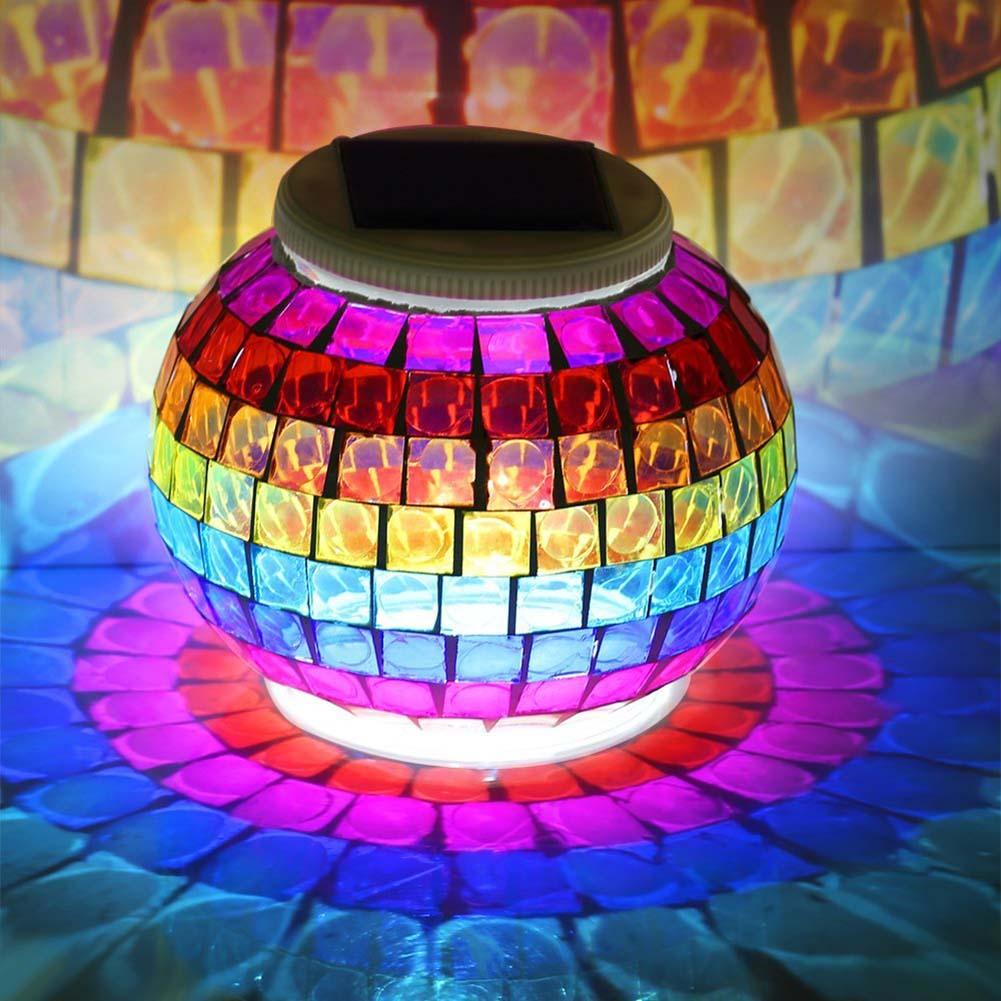 solarbetriebene mosaik glas ball led-leuchten im freien solar garten