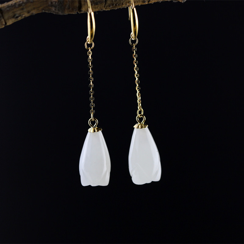 Lady fashion city handmade 18K gold jewelry earrings and Tian Yuyu natural orchid free postage city of gold