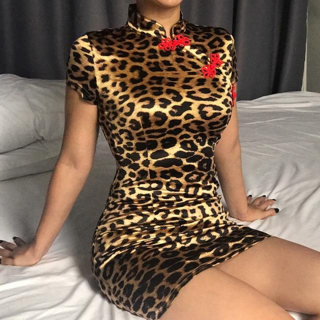 NCLAGEN 2018 Novas Mulheres Sexy Estilo Chinês Nó Leopardo Mini Vestidos de Manga Curta Slim Fit Gola Alta Vestido Bodycon Vestidos