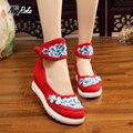 Лето Китайский стиль красный высокие каблуки обуви женщины насосы вышивка одиночные обувь повседневная туфли на платформе женщины feminino плюс размер 41