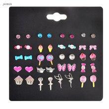 20 Pairs Kids Stud Earrings Set Mixed Color Cute Animal Heart Pearl CZ Studs Kit