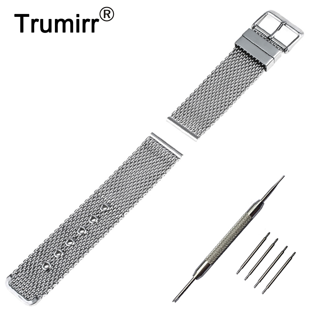 20mm 22mm Milanese Watchband for Rolex Watch Band Stainless Steel Strap Replacement Wrist Belt Bracelet +Tool + Pin Black Silver
