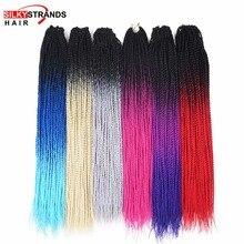 Шелковистые пряди, Омбре, косички, Сенегальские, крученые, вязанные крючком волосы для наращивания, синтетические, на крючках, косички, серый, блонд цвета