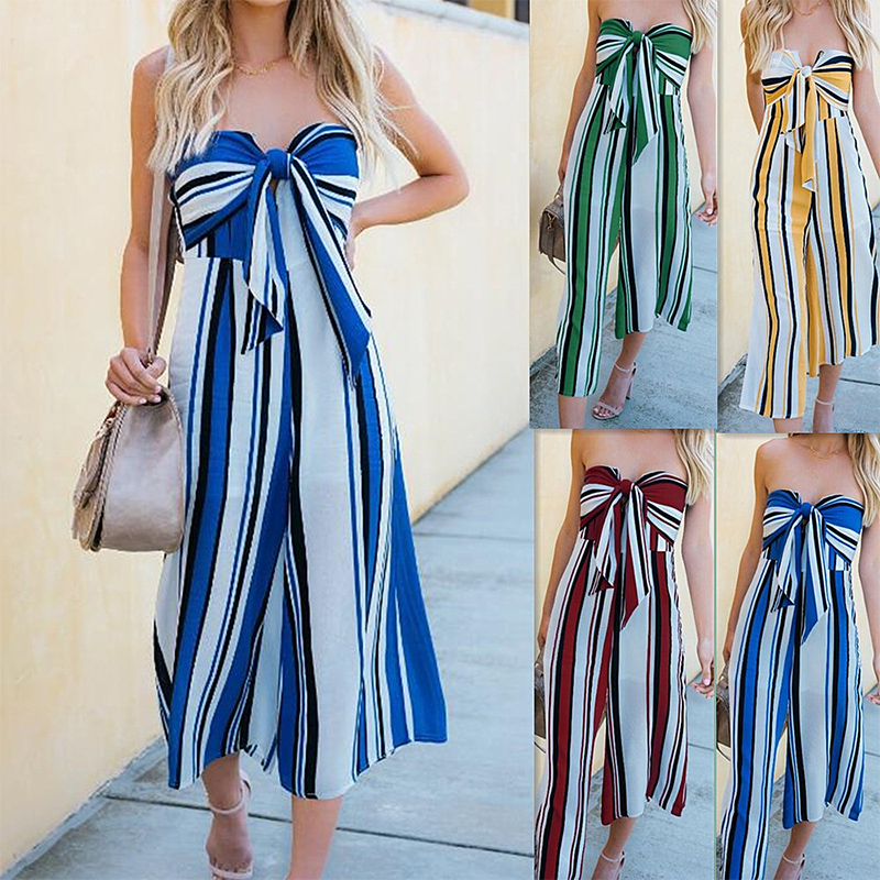 Sexy Strapless Bowknot Striped Jumpsuits Womens Casual Holiday Wide Leg Rompers Bohemian ...