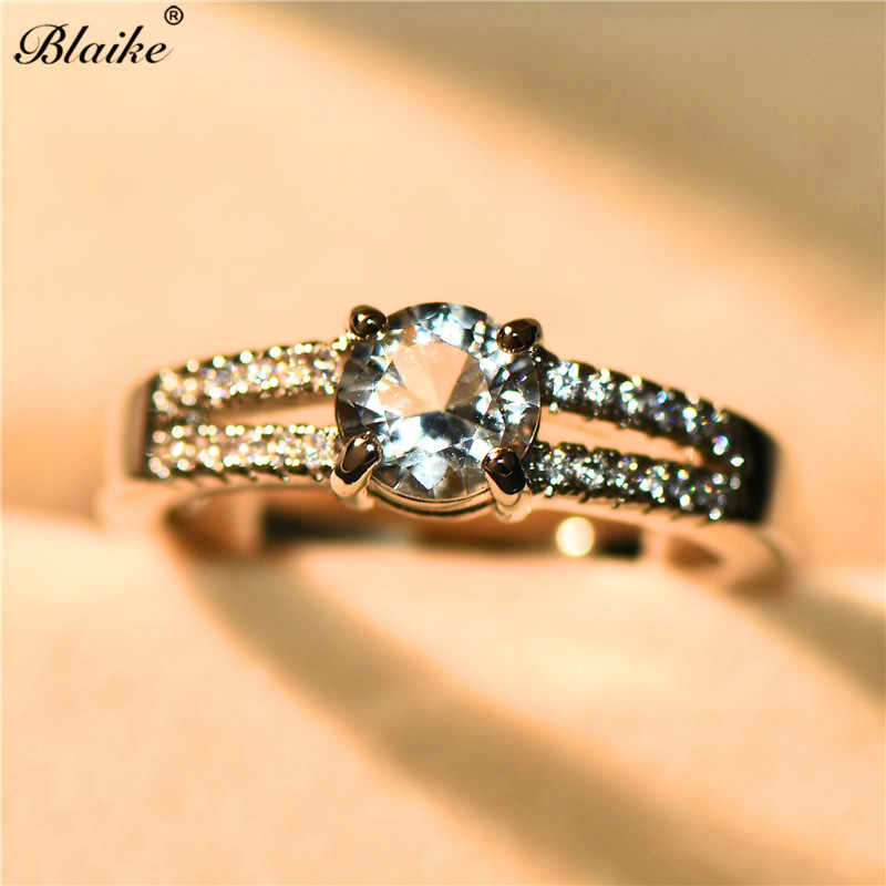 ... Blaike Classic 6MM White Round Crystal Wedding Rings For Women Fashion  925 Sterling Silver Filled AAA 88d054e9e86b