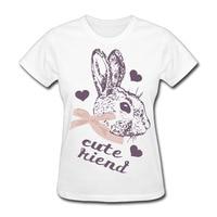 Niedlichen Kaninchen Frauen T-shirt Kurzen Feminino Hülse T-shirt Frauen Mesh Top T-shirt Kleidung Tees Tops Tees