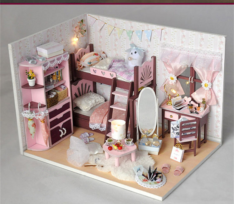 Doll Furniture For Sale Part - 46: Hot Sale Girl House Light DIY Wooden Miniatura Doll House Furniture  Handmade 3D Miniature Doll Kids