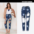 New american apparel fashion High waist ripped dames broeken jeans for women with stars printing Ankle length denim pants z066