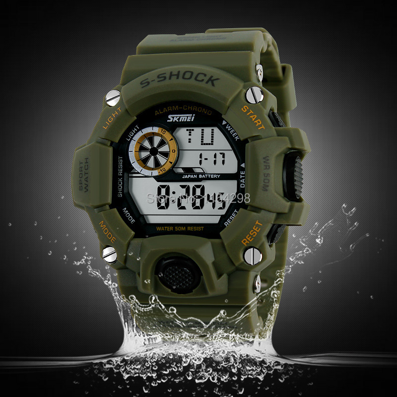 SKMEI Brand font b Men b font s shock Military Watch LED Digital Watch 50 Waterproof